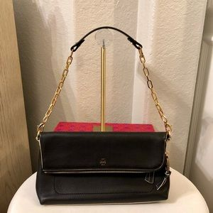 Tory Burch Emerson Foldover Black Leather